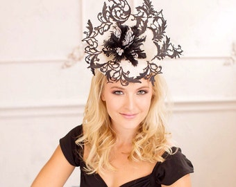 Lace Fascinator, Wedding Fascinator, Lace Hat, Cocktail Hat, Unique Hat, Sinimay Hat, Ascot Hat, Derby Fascinator, Melbourne Cup