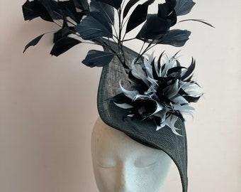 Black Fascinator, Sinamay Hat, Ascot Hat, Fascinator Hat, Black Fashion Hat,  Black Crinoline Fascinator