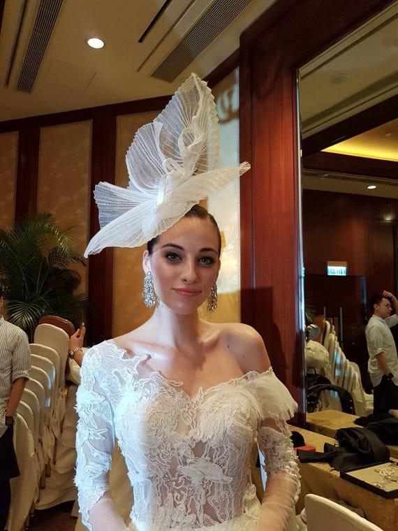 Bridal White wedding fascinator headpiece hats  36a11552477