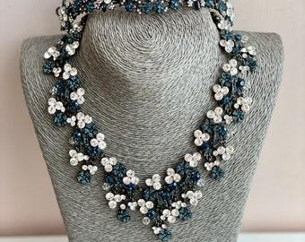 Blue Swarovski Crystal wedding tiara hair pin/vintage tiara Necklace Set