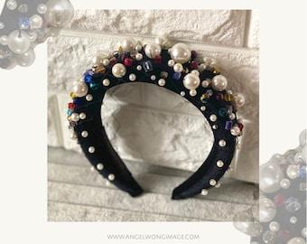 Black fashion moon crown headband , Black Fascinator. Halo Fascinator. Derby black headband. Melbourne Cup Fascinator. Luxury headband