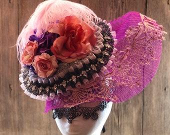 Fuchsia Marie Antoinette Fascinator, Fuchsia Royal Ascot hat, Fuchsia Wedding cocktail Hat