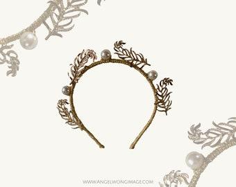 Gold Crown with gold embellishment,crown fascinate ,sierra headband, wedding luxury headband