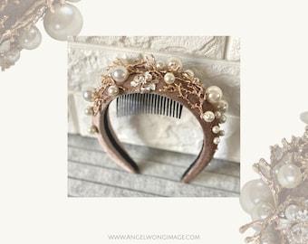 Apricot moon crown headband , Apricot Fascinator. Halo Fascinator. Gold pearl moon crown.  Melbourne Cup Fascinator. Luxury headband