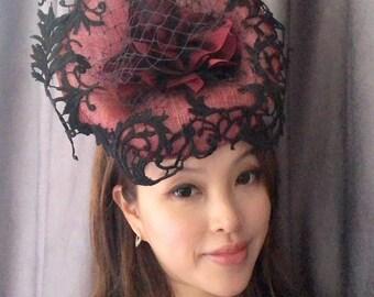Black Lace Fascinator , Red Fascinate Hat,  Wedding Hat, Melbourne Cup, Derby Hat, Occasion Fascinator