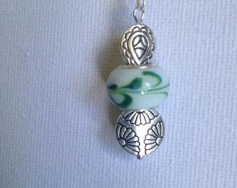 Green & White Murano bead and Tibetan silver bead Earrings