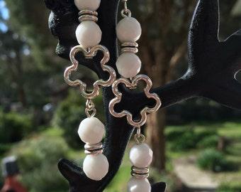 White Alabaster long dangle earrings