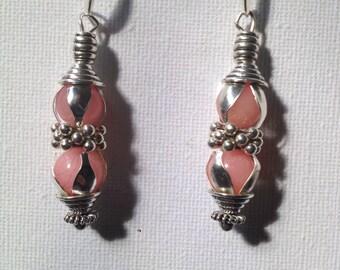 Pink Natural stone bead earrings