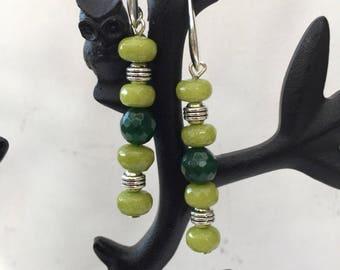 Two tone green Jade and Peridot Earrings