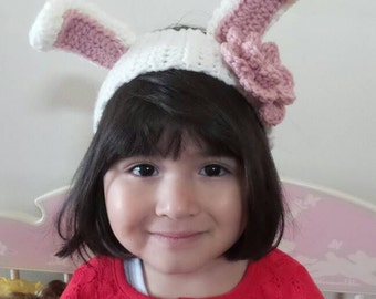 Bunny Rabbit headband earwarmer with flower from kids to adult. Girls bunny ear warmer head band. Easter