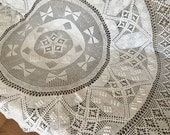 Large Round White Vintage French Hand-Made Bobble Crochet Tablecloth