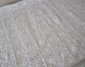 A Small Tablecloth, Dolls Eiderdown, Mat Hand White Crochet Runner, French Net Tablecloth, Gift, Housewarming, Christmas