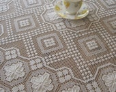 Stunning Round Antique Italian Style Tablecloth, Fillet, Needle Lace ,Panel, Housewarming, Brocante, Art, Craft