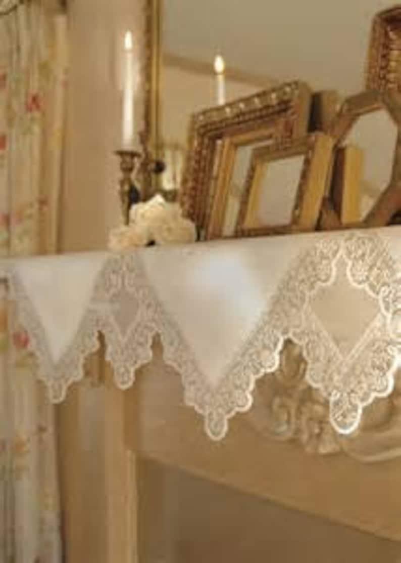 Heirloom Large Vintage Metis Linen French Art Deco Pelmet Curtain Hand-Made Fireplace Decor Shelf Decor