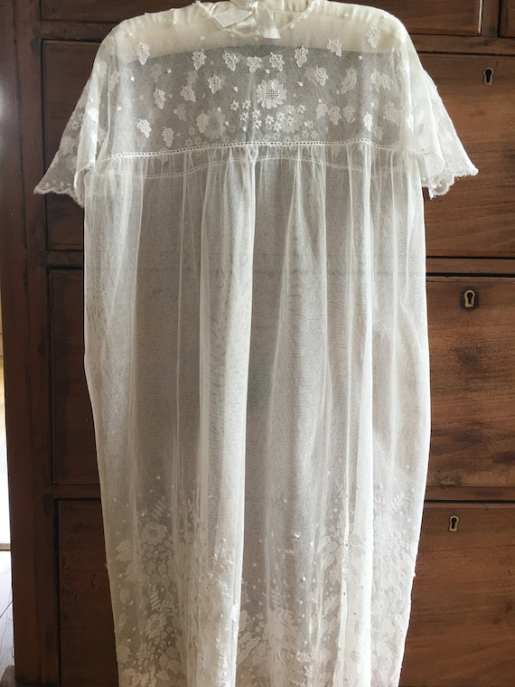Lace Edwardian Christening Gown, Antique Day Gown,