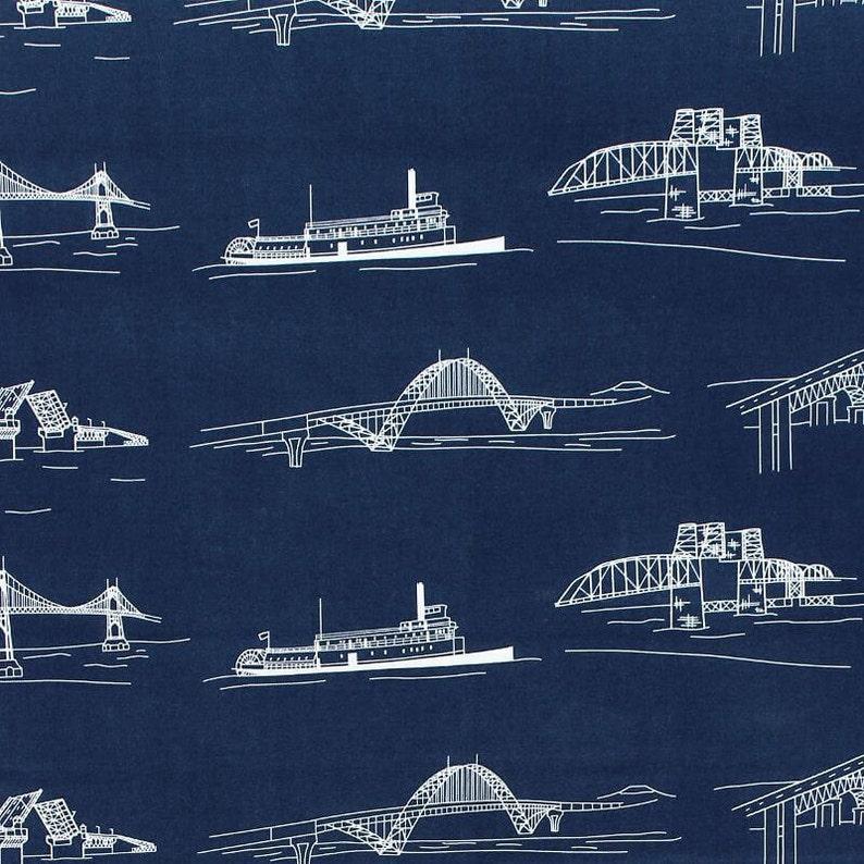 Fat Quarter Bridgetown Bridges Navy Cotton Quilting Fabric