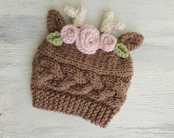 e947c8c9de128 Knit reindeer hat