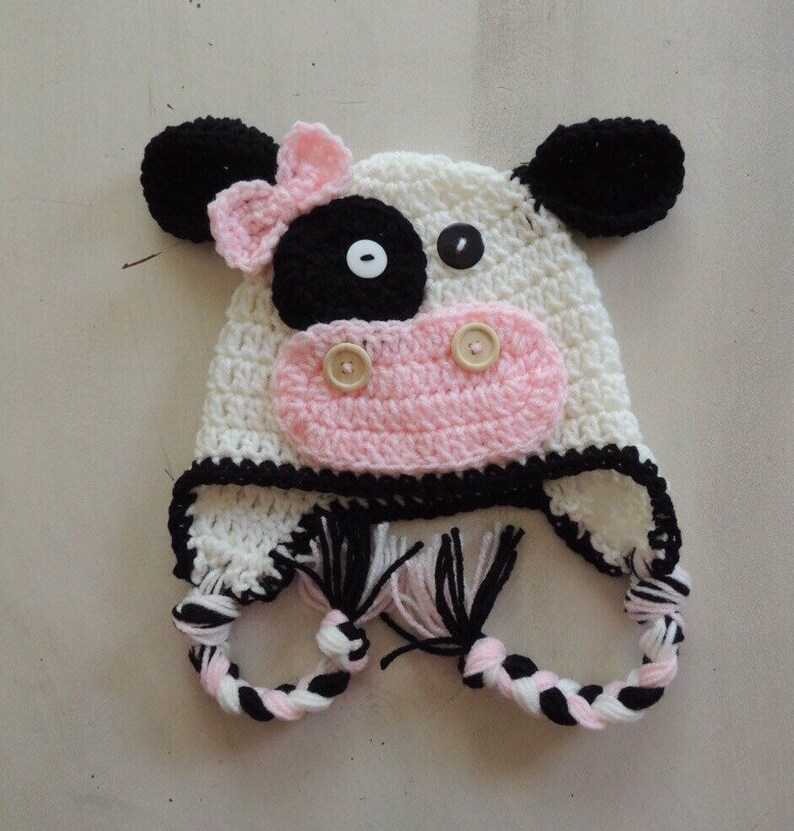 Cow Hats Crochet Cow Hats Girl Hats Luv Beanies Photo Etsy