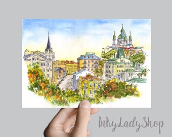 Kiev Old Town print. ANDREEVSKIY LOWERING. Kyiv watercolor painting. Print from original watercolor. Andreevsky Spusk in autumn. Wall art.