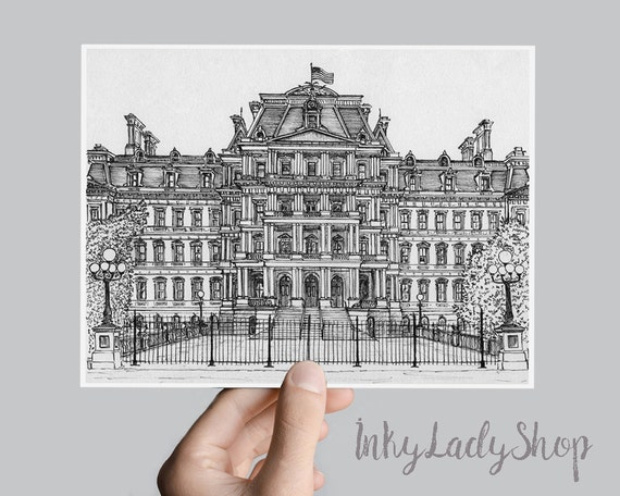 Travel architectural sketch  Pen and ink drawing  Eisenhower Executive  Office  Building drawing in pen and ink  Washington DC, USA  Print