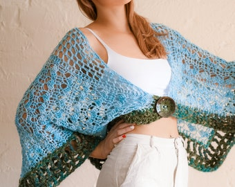 Lace Shawl CROCHET PATTERN. An unusually shaped wrap, almost a capelet, created using 2 different yarn thicknesses. Strolling Along Shawl.