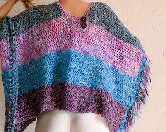 Rectangle Crochet Ruana Pattern, Unisex Poncho, Easy Crochet Pattern, Beginners, customizable, optional fringe, wrap, shawl