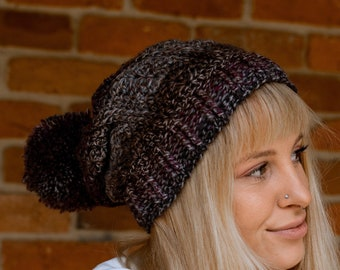 Bloomin' Comfy Crochet Beanie Pattern. DIY hat or toque with ribbed cuff and adjustable sizing. Messy Bun Hat option.