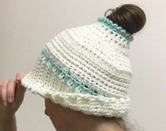Crochet Ponytail or Messy Bun Hair Hat Pattern. DIY beanie with ribbed cuff & adjustable sizing. Textured and chunky - a great gift!