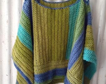 Rectangle Crochet Poncho Pattern, Unisex Poncho, Easy Crochet Pattern, Beginners, customizable, optional fringe, wrap, shawl, ruana, worsted