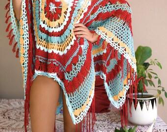 Boho Mandala Crochet Summer Cover Up Pattern with 3 finishing options (fringe/buttons/lacing) & optional ruffle neck. A wrap, shawl, poncho