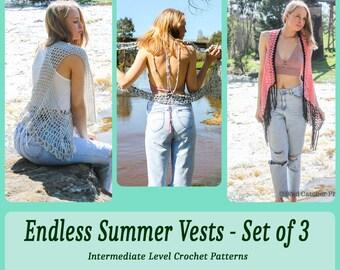 Summer Vest Crochet Pattern Set – Endless Summer Collection – Crochet Vest Pattern – Set of 3 – Crochet Pattern - Instant Download