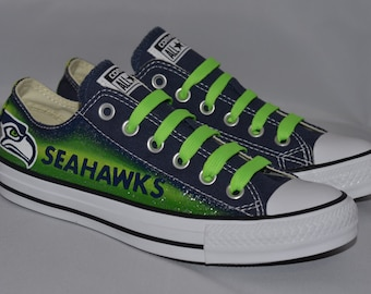 163046fa40d Seahawks Converse Shoes  with Green Laces