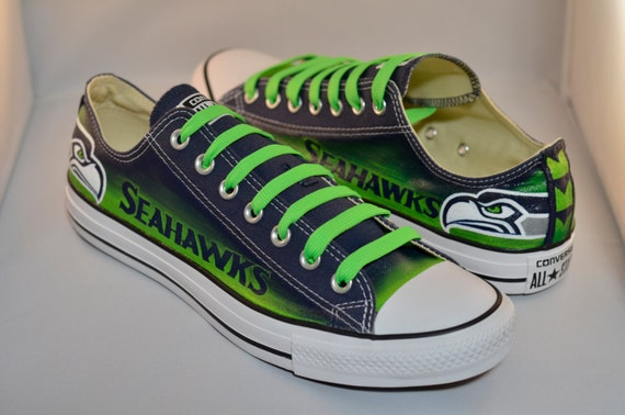 Seahawks Converse Shoes *with Green Laces*