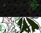 Cosplay PDF Vector Pattern Blueprint - Warlock Staff: Hubris of the Dark Titan (World of Warcraft Legion Artifact Weapon)