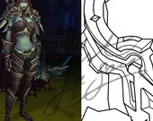 Cosplay PDF Vector Pattern Blueprint - Sylvanas Windrunner Bow (Blue - Warlords of Draenor Model)