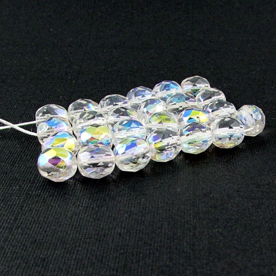 25 Round Faceted Crystal Glass Beads 8mm Crystal Clear