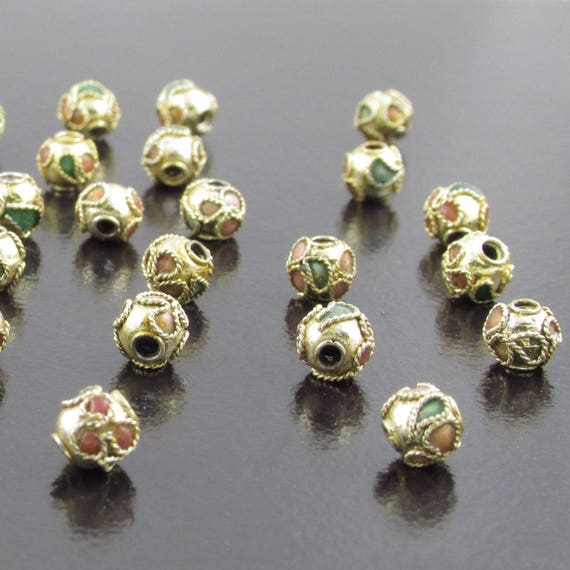 20 Gold Coloured Cloisonne Beads Enamel Round Spacer Floral 6mm