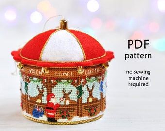 Cross Stitch Christmas Ornament. Santa's Reindeers Cross Stitch. Christmas Cross Stitch Pattern. 3D Cross Stitch. Stable Cross Stitch