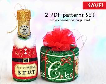 SET of 2 Christmas Cross Stitch Patterns. Cake Cross Stitch Pattern. Bottle Cross Stitch Pattern. Cross Stitch Ornament Pattern. Pattern PDF