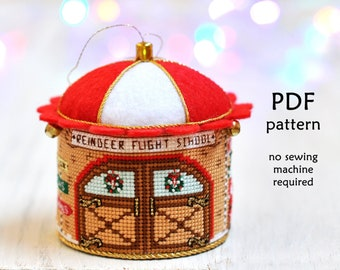 Cross Stitch Christmas Ornament. Cross Stitch Ornament Pattern. Santa Reindeer Cross Stitch. Christmas Cross Stitch Pattern. 3D Cross Stitch