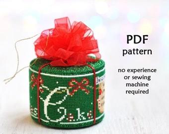 Cake Cross Stitch Pattern. Christmas Cross Stitch Pattern. Christmas Cake Cross Stitch. Cross Stitch Ornament Pattern. Christmas Ornament 3D