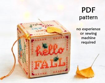 Fall Cross Stitch Pattern. Autumn cross stitch. Pumpkin cross stitch. 3D cross stitch. Thanksgiving cross stitch. Pumpkin Truck Cross Stitch