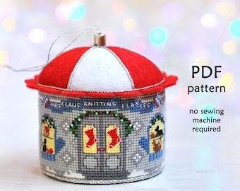 Christmas Cross Stitch Pattern. Cross Stitch Christmas Ornament. Knitting Shop Cross Stitch. Christmas Village Cross Stitch. Mrs Claus Cross