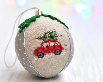 Red Car Christmas Ornament. Personalized Baby's First Christmas Ornament. Our First Christmas Ornament. Baby's First Christmas Bauble.