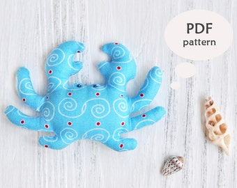 Crab Sewing Pattern. Stuffed Animal Pattern. Stuffed Animal Sewing Pattern. Toy Crab Sewing Pattern. Stuffed Crab Toy Pattern. Nursery Decor