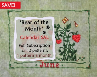 Bear of the Month SAL. Full Year Subscription for 12 patterns. Cross Stitch Calendar Pattern. Bear Cross Stitch Pattern. Cross Stitch SAL.
