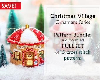 Set of 15 PDF Patterns. Christmas Cross Stitch Pattern. 3D Cross Stitch. Christmas Village Cross Stitch. Cross Stitch Christmas Ornament.