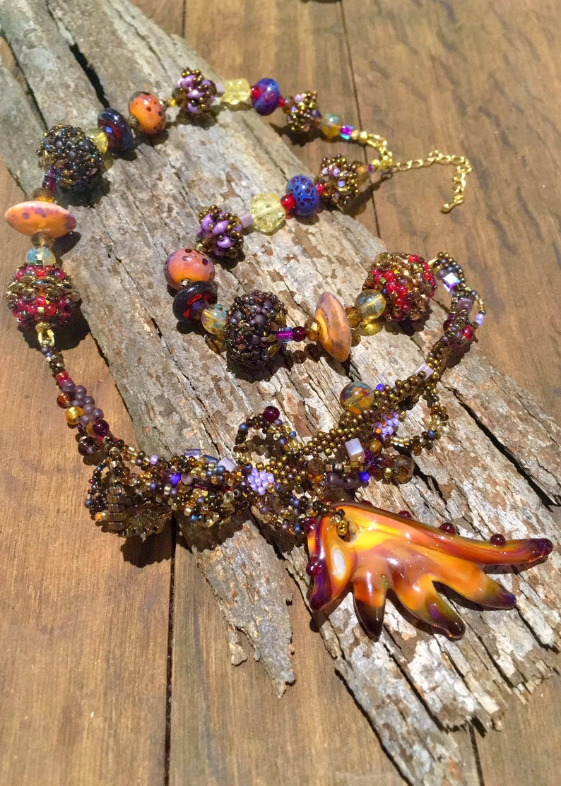 Wing of the Phoenix Freeform bead woven statement necklace