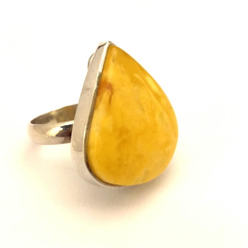 Amber Baltic Ring Genuine Vintage 8.04 Gr Huge Egg Yolk Yellow Color Handmade