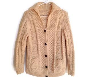 b5478dcf4 Vintage Cream Knit Cardigan 1970s hand knit Fisherman Sweater Cable Knit  Chunky Sweater Pockets Beige Irish sweater womens small